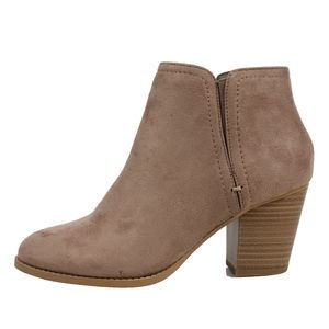 Piano Cement Faux Suede Stack Block Heel Ankle Boo
